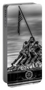 Iwo Jima Monument Black And White Portable Battery Charger
