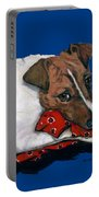 Jack Russell With A Red Bandana Portable Battery Charger
