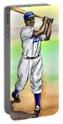 Jackie Robinson Portable Battery Charger by Mel Thompson