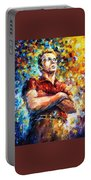 James Dean - Palette Knife Oil Painting On Canvas By Leonid Afremov Portable Battery Charger