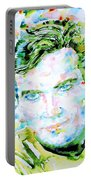 James T. Kirk - Watercolor Portrait Portable Battery Charger by Fabrizio Cassetta