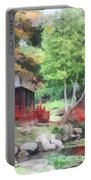 Japanese Garden With Red Bridge Portable Battery Charger