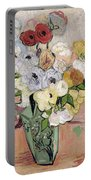 Japanese Vase With Roses And Anemones Portable Battery Charger