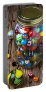 Jar Of Marbles With Shooter Portable Battery Charger by Garry Gay