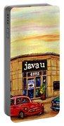 Java U Cafe Jean Talon Car Wash Coffee Shop Depanneur Montreal Art Sale Cspandau                     Portable Battery Charger