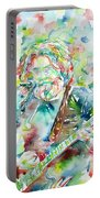 Jerry Garcia Playing The Guitar Watercolor Portrait.2 Portable Battery Charger