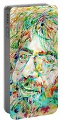 Jerry Garcia Watercolor Portrait.1 Portable Battery Charger by Fabrizio Cassetta