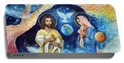 Jesus And Mary Cloud Colored Christ Come Portable Battery Charger