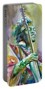 Jimi Hendrix Playing The Guitar.5 -watercolor Portrait Portable Battery Charger