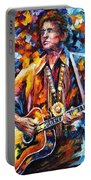 Johnny Cash - Palette Knife Oil Painting On Canvas By Leonid Afremov Portable Battery Charger