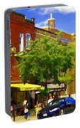 Jos Pappos Furs Street Scene Suburban Shops And Store Fronts Sherbrooke Montreal Carole Spandau Art  Portable Battery Charger