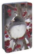Junco Puffed Up On Crabapple Tree Portable Battery Charger
