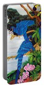 Jungle Chats Hand Embroidery Portable Battery Charger
