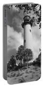 Jupiter Inler Lighthouse In Black And White Portable Battery Charger