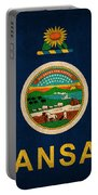 Kansas State Flag Art On Worn Canvas Portable Battery Charger