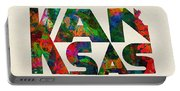 Kansas Typographic Watercolor Map Portable Battery Charger