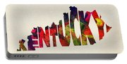Kentucky Typographic Watercolor Map Portable Battery Charger