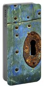 Keyhole On A Blue And Green Door Portable Battery Charger