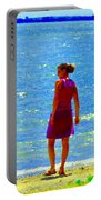 Kids Playing On The Seashore Mom And Little Boys Pointe Claire Montreal Waterscene Carole Spandau Portable Battery Charger