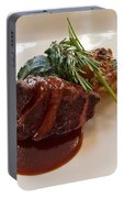 Kobe Beef With Spring Spinach And A Wild Mushroom Bread Pudding Portable Battery Charger