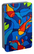 Koi Joi - Blue And Red Fish Print Portable Battery Charger