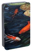 Koi pond water lilies painting by christine montague for Portable koi pond