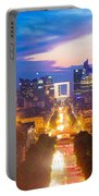 La Defense And Champs Elysees At Sunset In Paris France Portable Battery Charger