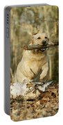 Labrador Jumping With Stick Portable Battery Charger