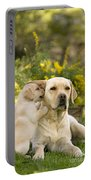 Labrador Puppy Playing With Parent Portable Battery Charger