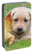 Labrador Retriever Puppy With Autumn Leaf Portable Battery Charger