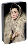 Lady In A Fur Wrap Portable Battery Charger