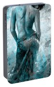 Lady In Red #27 Digital Colored Version Blue Aqua Portable Battery Charger