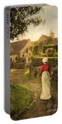 Lady In Regency Dress Walking Portable Battery Charger by Jill Battaglia