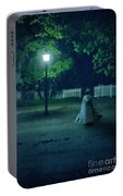 Lady In Vintage Clothing Walking By Lamplight Portable Battery Charger