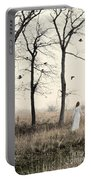 Lady In White In Autumn Landscape Portable Battery Charger