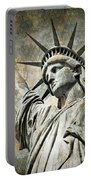 Lady Liberty Vintage Portable Battery Charger by Delphimages Photo Creations