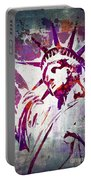 Lady Liberty Watercolor Portable Battery Charger by Delphimages Photo Creations