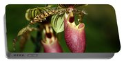Lady Slipper Orchid Twins Portable Battery Charger
