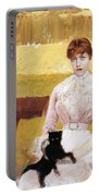 Lady With Black Kitten Portable Battery Charger