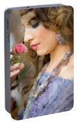 Lady With Pink Rose Portable Battery Charger