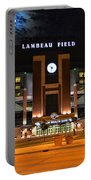 Lambeau Field At Night Portable Battery Charger by Tommy Anderson