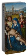 Lamentation With Saint John The Baptist And Saint Catherine Of Alexandria Portable Battery Charger