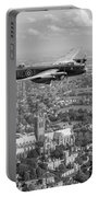 Lancaster City Of Lincoln Over The City Of Lincoln Black And White Portable Battery Charger