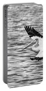 Landing Pelican In Black And White Portable Battery Charger
