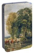 Landscape Cattle In A Stream With Sluice Gate Portable Battery Charger