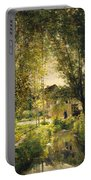 Landscape With A Sunlit Stream Portable Battery Charger