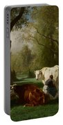 Landscape With Cattle And Sheep Portable Battery Charger