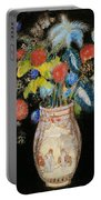Large Bouquet On A Black Background Portable Battery Charger by Odilon Redon