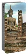 Large Sitting Buddha At Wat Mahathat In 13th Century Sukhothai H Portable Battery Charger