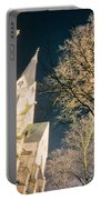 Large Stone Church At Night Portable Battery Charger